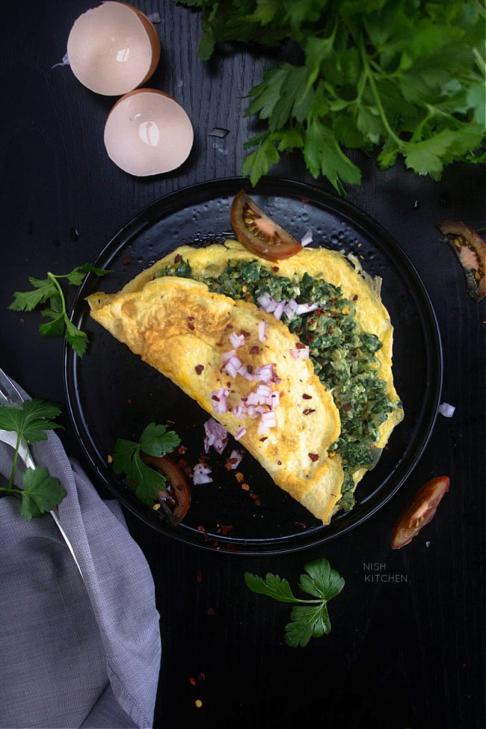 veg omelette with spinach