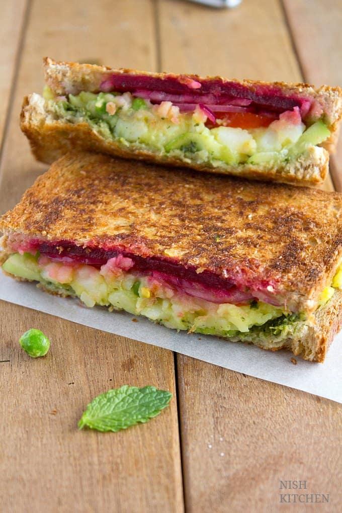 bombay sandwich grilled masala toast recipe