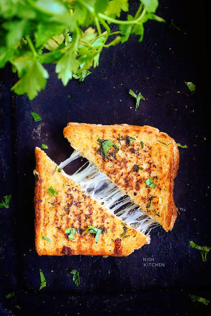 Grilled cheese sandwich with garlic bread